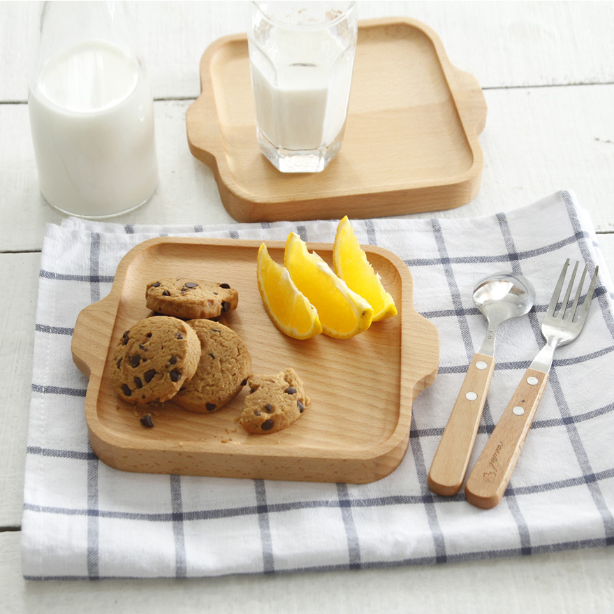 Household Solid Wood Double Ear Board Tray Pizza Plate Breakfast Tray Afternoon Tea Tray 19.5x16CM/7.6x6.2IN Fruit Plate