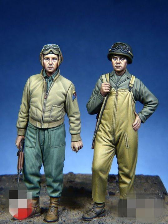 1/35 Resin Figure Model Kit WWII U.S. Army Tank Crew 2 Figures Unassambled Unpainted