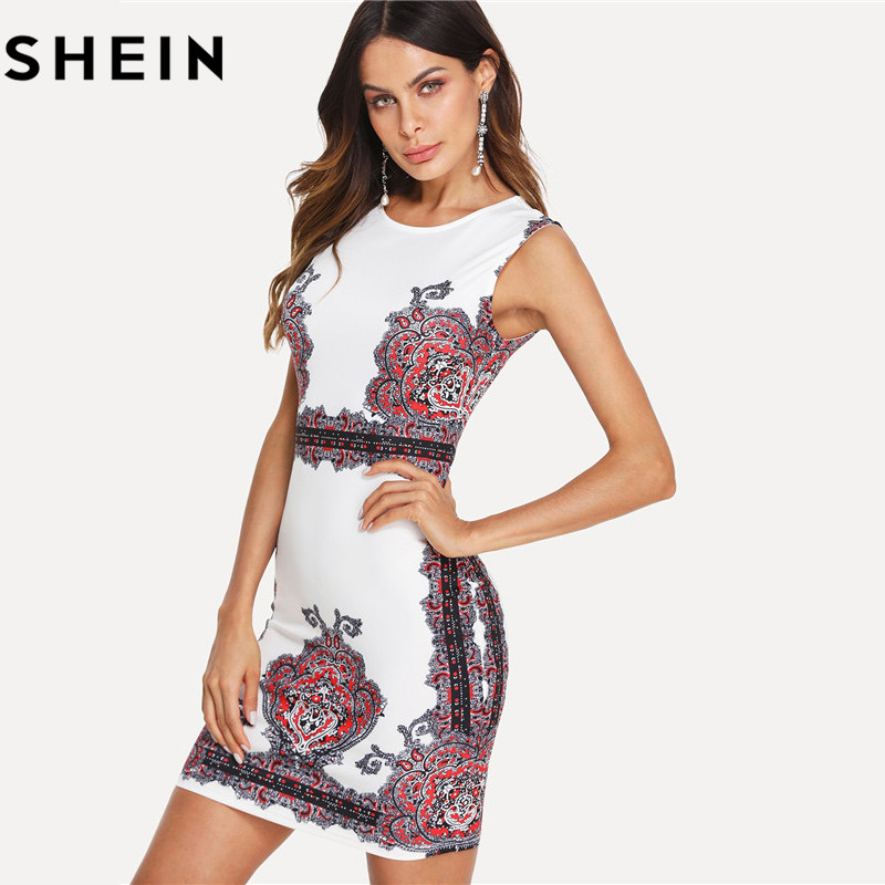 842e58b2a60 SHEIN Women Floral Print Sleeveless Bodycon Mini Dresses 2018 Summer Work  Lady O Neck Slim Damask Form Party Fitting Short Dress-in Dresses from  Women s ...