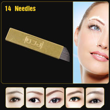 100 PCS Copper PCD Permanent Eyebrow Makeup Manual Tattoo Bevel Blades 14 Needles For 3D Embroidery Manual Tattoo Pen Machine