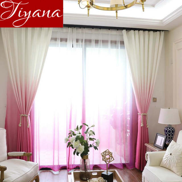 online shop rose red curtains gradient color print sheer voile