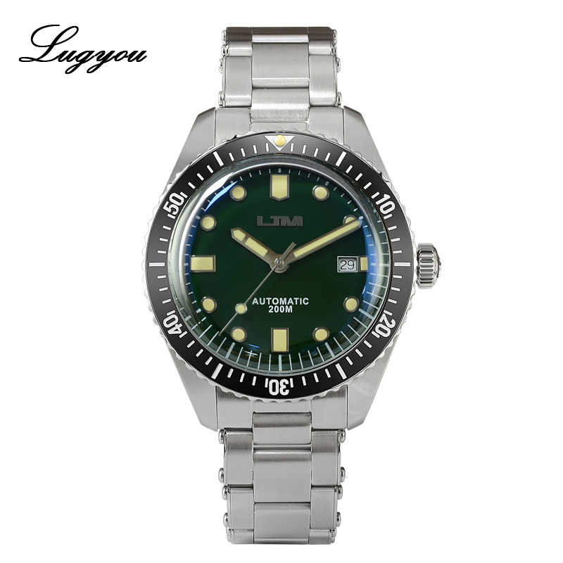 Lugyou San Martin Sea Master Diver Men Watch Automatic Stainless Steel Ceramic Bezel Metal Band 200M Water Resistant Sapphire