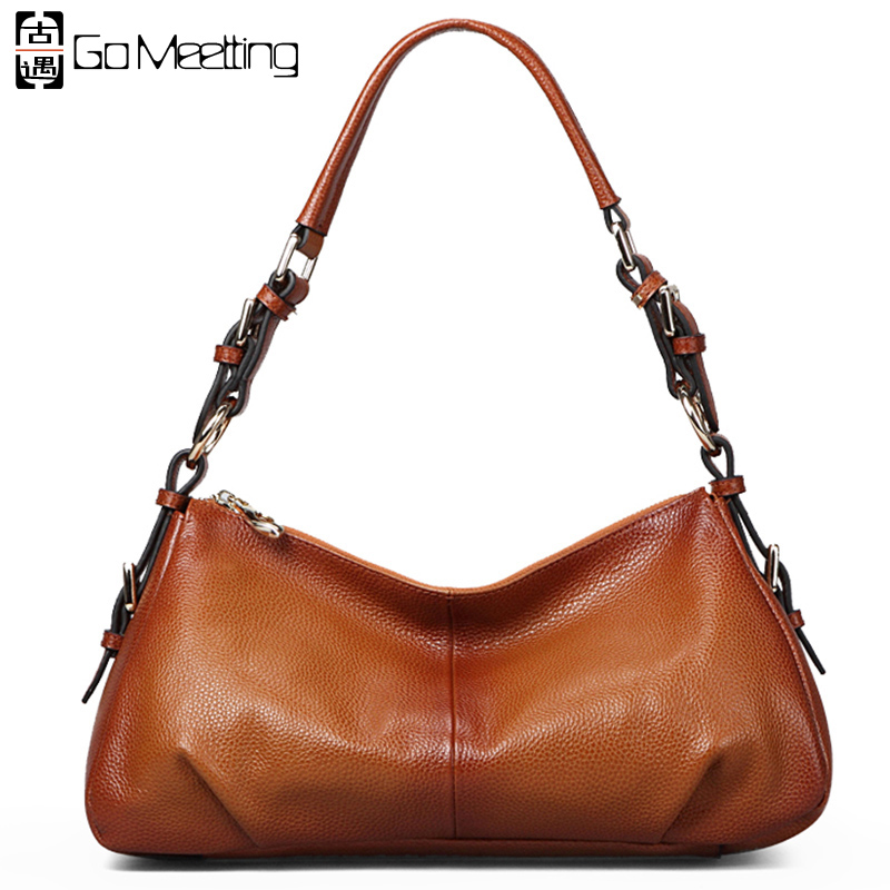 Go Meetting Brand Design Genuine Leather Women Shoulder Bags High-Grade Cow Leather Women Luxury Single Shoulder Bag handbag