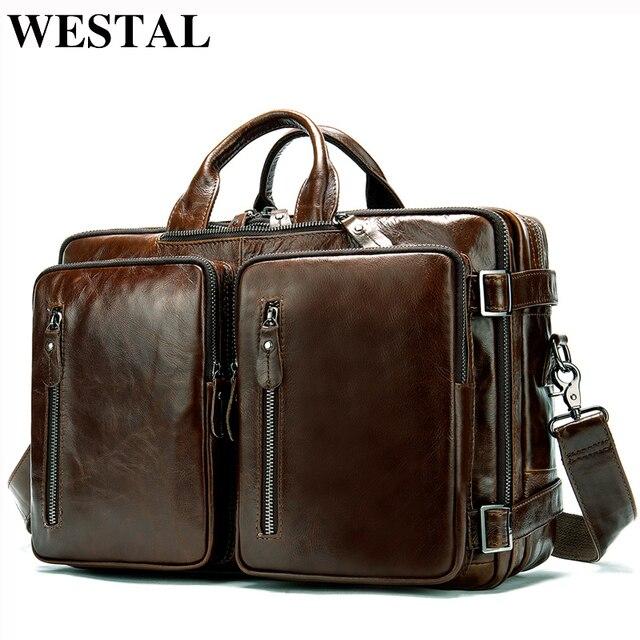 WESTAL Büyük Kapasiteli Erkekler Evrak Çantası Hakiki Deri İş Belge Çanta Erkekler için Deri laptop çantası 14 inç Bilgisayar Çantası 433