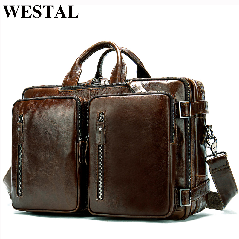 WESTAL Large Capacity Men Briefcases Genuine Leather Business Document Bags For Men Leather Laptop Bag 14inch Computer Bag 433
