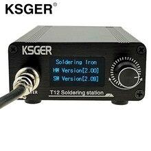 Ksger estação de solda t12, estação de solda v2.0 stm32 oled digital controlador de temperatura ferros de solda elétrica T12 K b2 bc2 d24 pontas