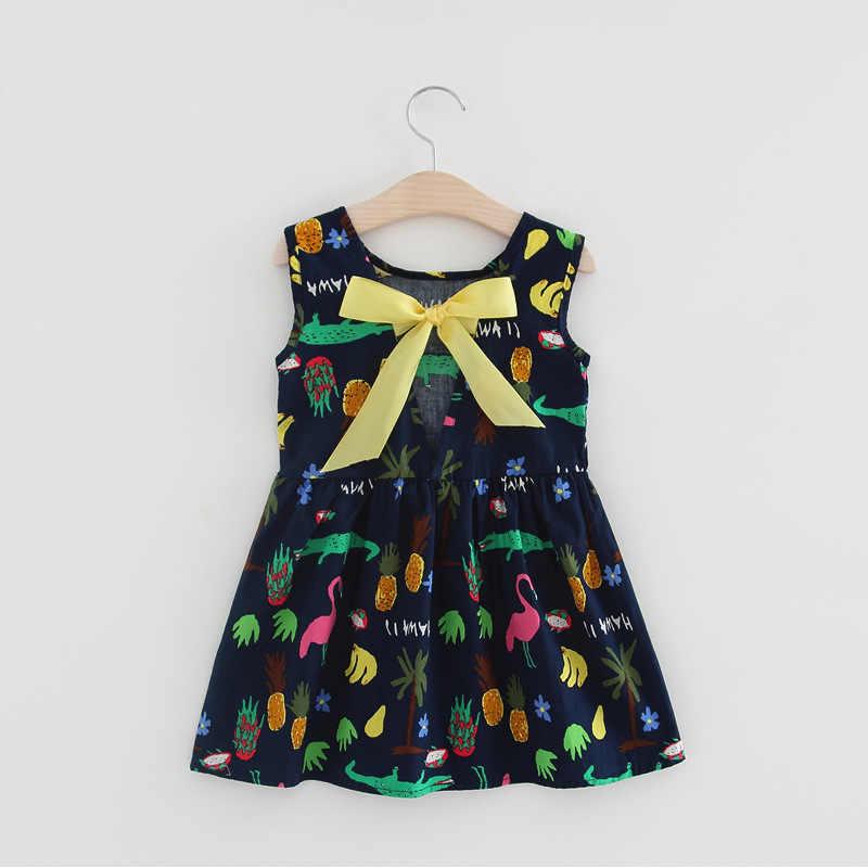 Trẻ Em Thiếu Niên Tay Cotton Quần Áo Mùa Hè Vestidos Bé Gái Hoa Quả In Họa Tiết Hình ĐẦM Cho Công Chúa Sinh Nhật Sale Hot