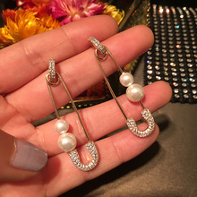 Dazz S925 Silver Dangle Earrings Safety Pin Premium Pearl Shiny Zircon Jewelry Women Girl Party Holiday Luxury Accessories 2019