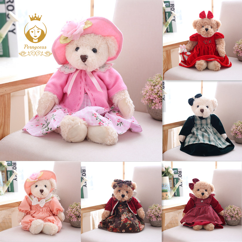1Pcs 40CM Female Retro Floral Teddy Bear Plush Stuffed Toys, Cute Teddy Bear Plush Dolls, Baby toys, Girls Gift 20cm cute teddy bear plush kids toys stuffed dolls for children girls gifts baby