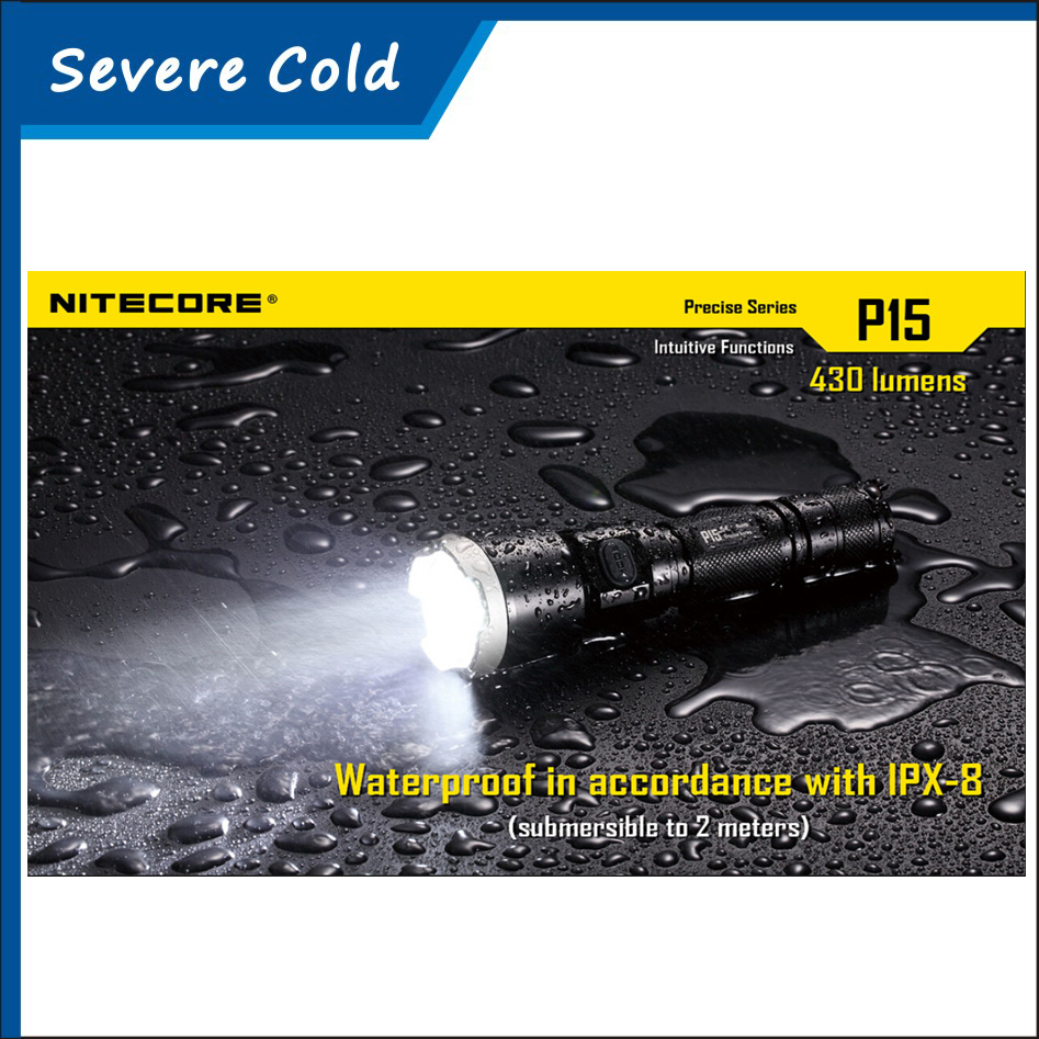 NITECORE P15 Precise CREE XP-G2 LED 1x 18650 or 2x CR123A Battery 430lumens EDC Flashlight Torch Free Shipping nitecore p15 430 lumens cree xp g2 tactical led flashlight military outdoor hunt search rescue tactical torch free shipping