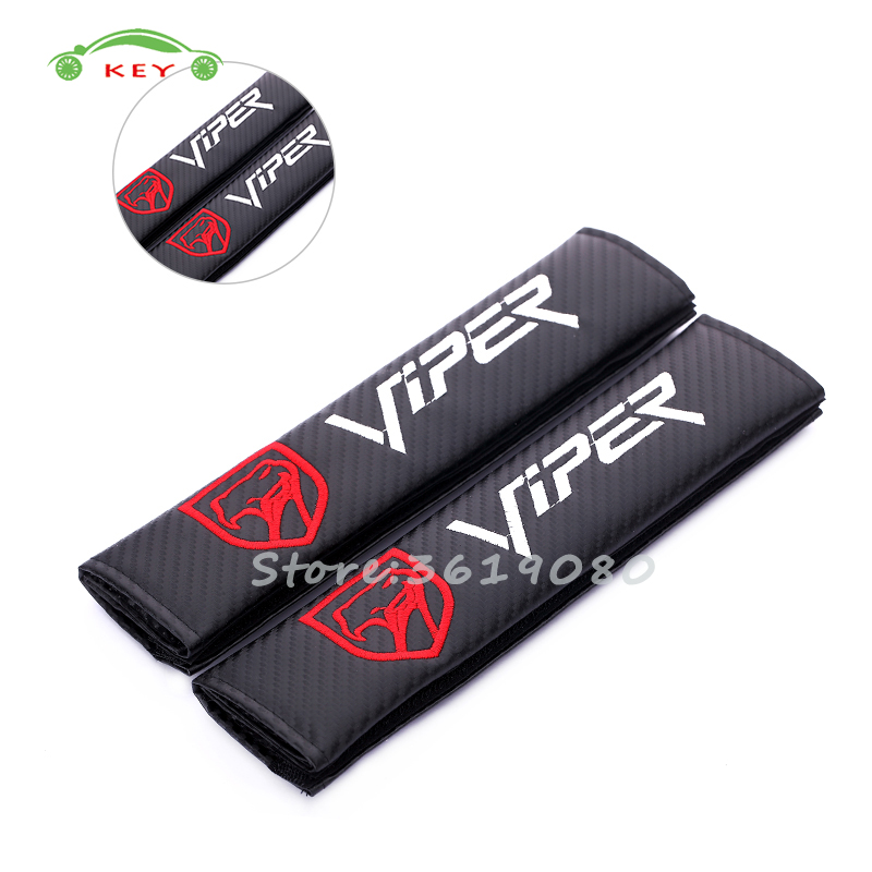For Viper Logo Car Safety Seat Belt Cover Shoulder Pads Cushion for Dodge Ram 1500 Jcuv Caliber Charger durango Car Protection