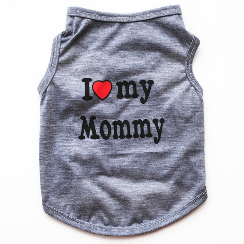 Classic Love Mommy & Love Daddy Print Dog Vest Unisex Puppy Cat T Shirt Sleeveless Clothing Cute Dogs Clothes For Small Doggy 15