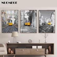Nordic City Landscape Poster Art Tramway Car Canvas Painting Wall Pictures Prints for Living Room Cuadros Decoracion