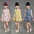 Летние Девочки Платья Цветочный Печати Рукавов Детские Платья Для Детей Девушки Одежды 2-7 Лет