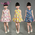 Summer Baby Girls Dresses Floral Print Sleeveless Kids  Dresses For Children Girl Clothing 2-7 Years