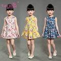 Summer Baby Girls Dresses Floral Print Sleeveless Kids  Dresses For Children Girl Clothing 2-7 Years