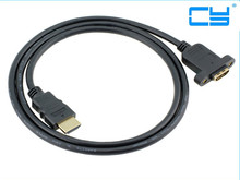 HDMI A 1.4 19pin Male to HDMI A Type Female Extension Cable with Screw Hole Can Lock Panel Mount Cable