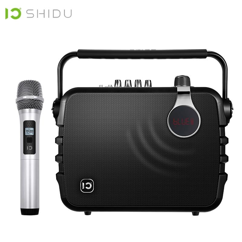SHIDU 60W Portable amplificateur de voix Bluetooth 4.0 ICloud contrôle karaoké haut-parleur avec UHF Microphone sans fil pour la parole K5
