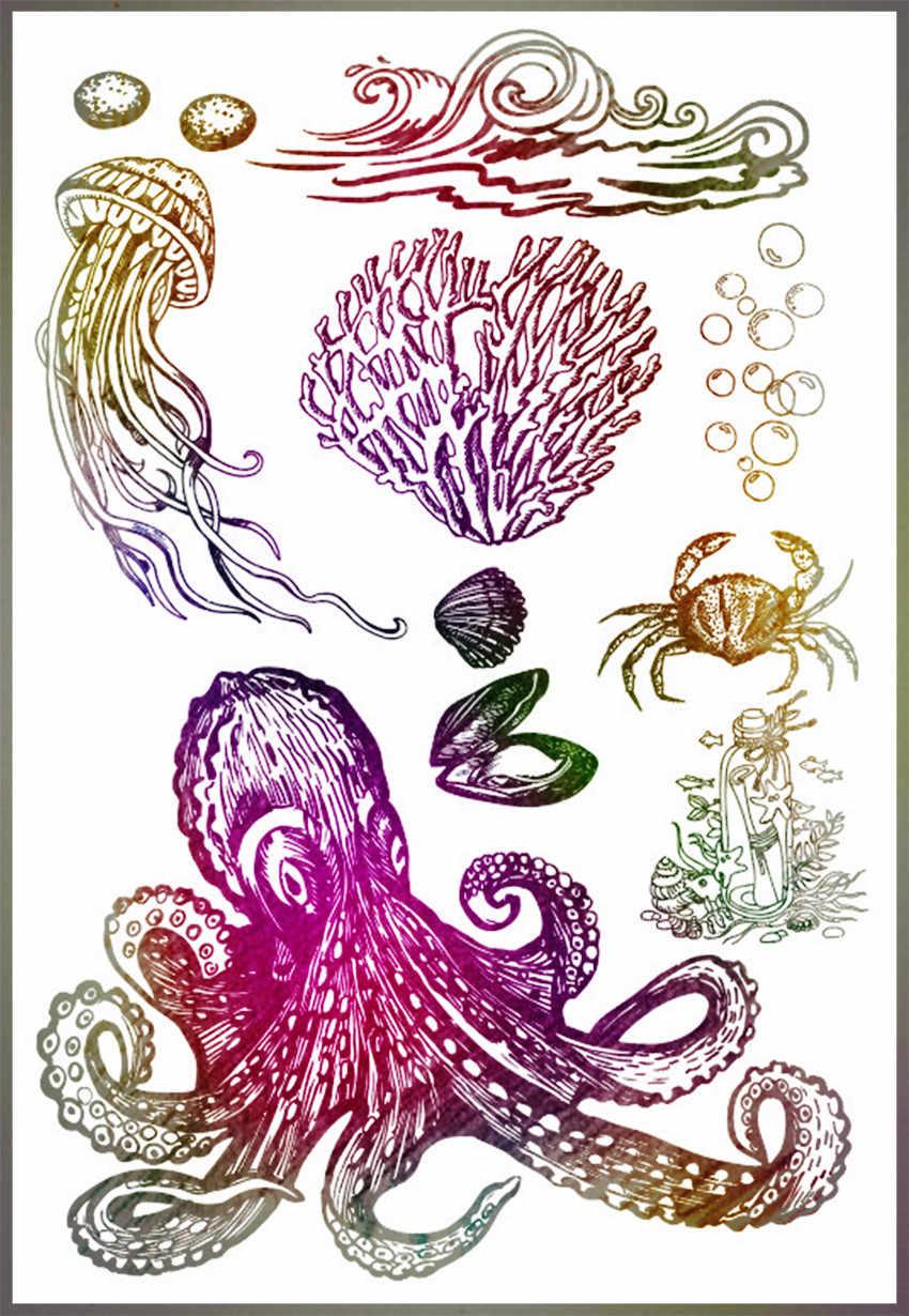 Hot Jual Dunia Bawah Laut Alphabet Transparan Bening Stamp/Silicone Seal Roller Stamp DIY Scrapbook Album Kartu Produksi
