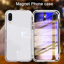 ФОТО magnetic flip case for huawei p20 lite honor 10 glass back cover case for huawei p20 pro shockproof metal case soft tpu edge