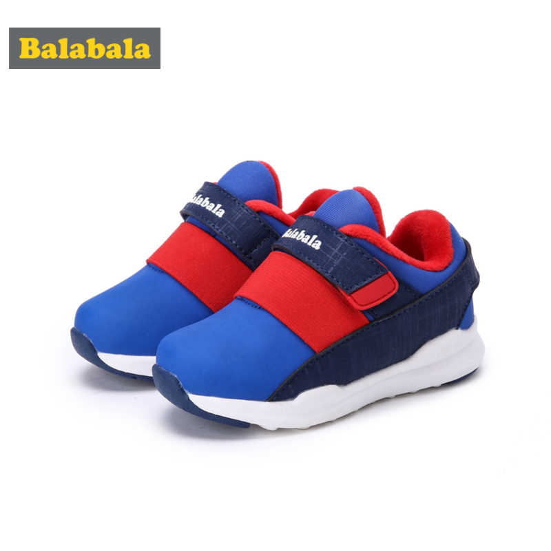 Balabala Boys Fleece-Lined Sneakers with Hook-and-loop Strap Kids Toddler Boy Casual Sneakers with Contrasting Detail