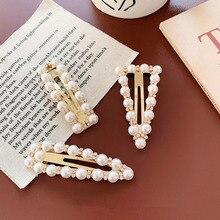 Épingles à cheveux en strass et perles pour femmes, Barrettes pour filles, pince à cheveux géométrique, accessoire de coiffure, D283