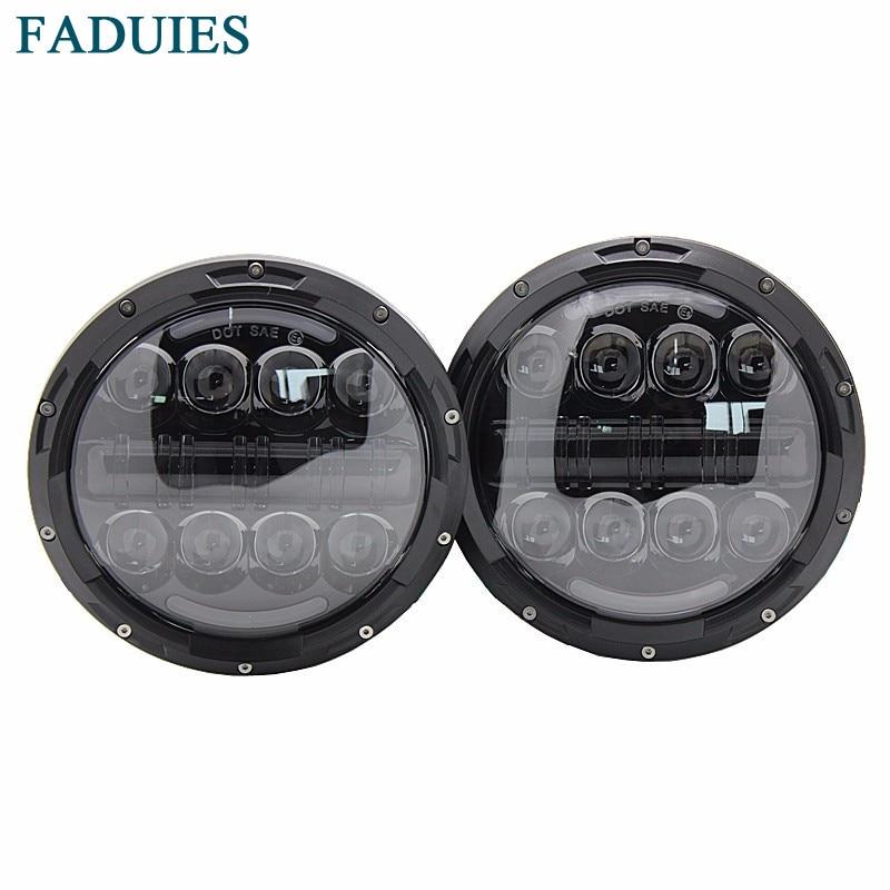 FADUIES черный 7 дюймов круглые фары СИД 80W высокий/низкий Луч с DRL для Jeep Вранглер JK и TJ ФДЖ 2007-2016