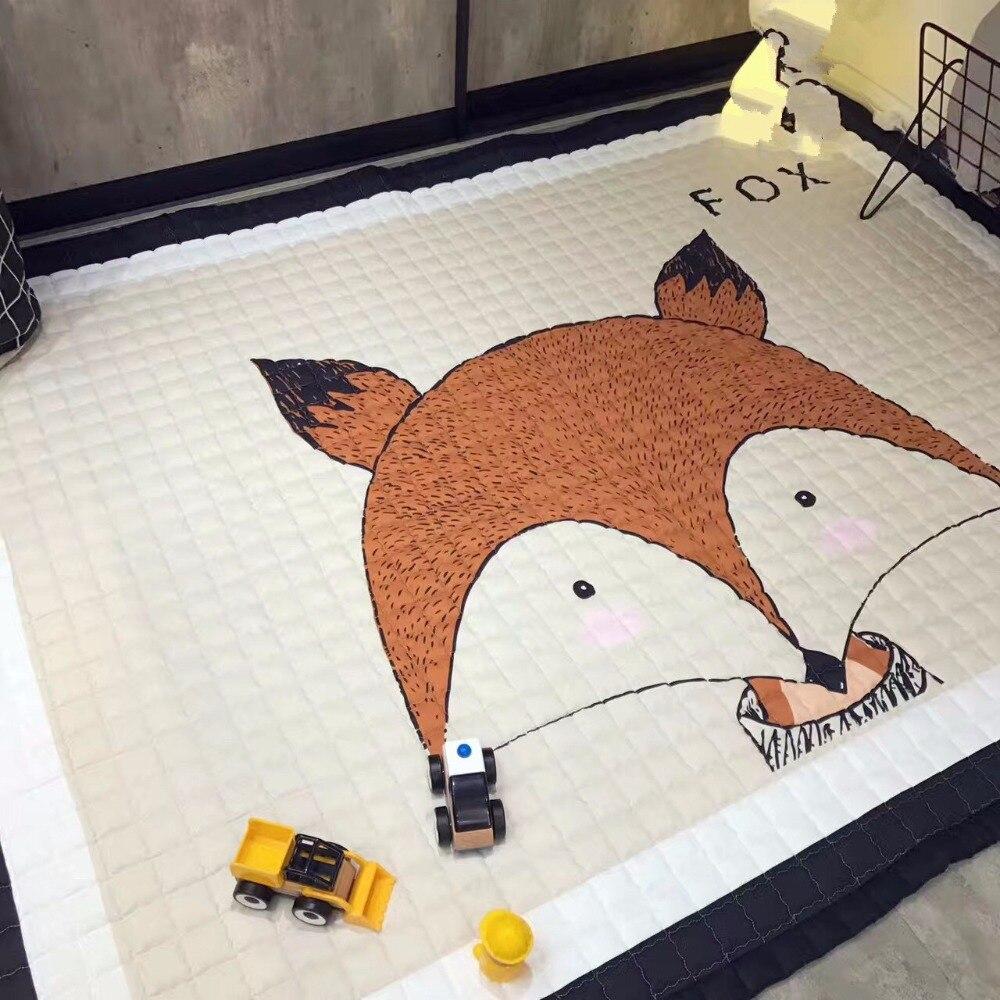 Estilo europeu casa tapete 100% algodão dos desenhos animados tapetes antiskip sala de estar tapete 150*200cm macio crianças jogar tapete cão menino tigre