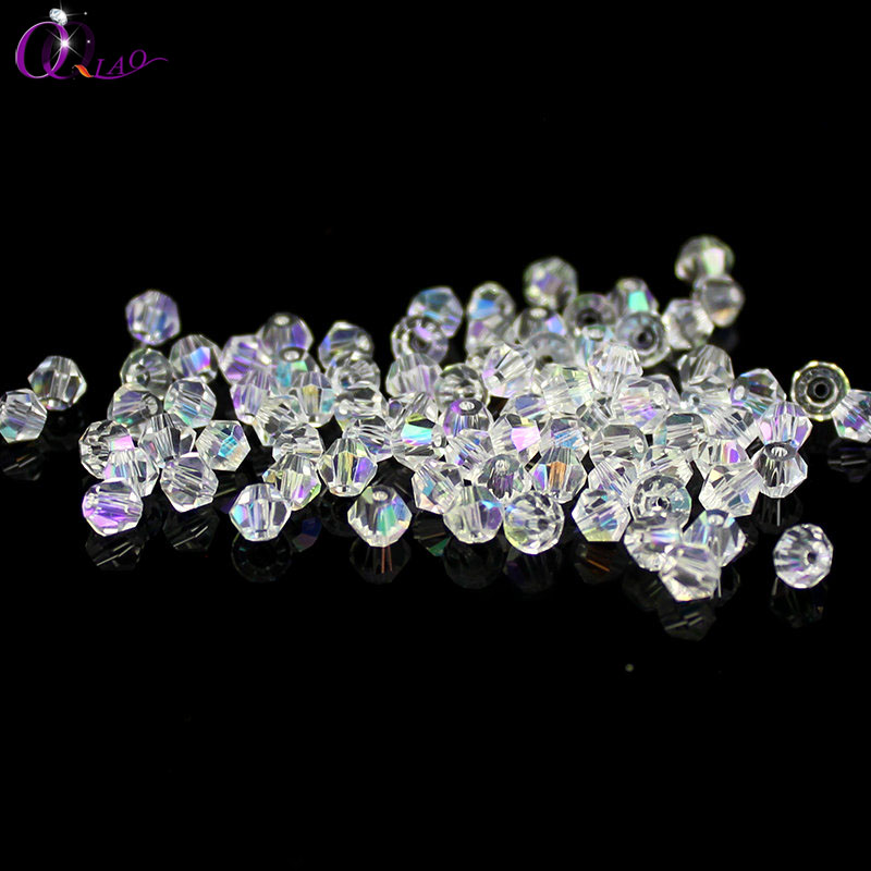 Top quality 4mm 200pcs/lot bicone crystal beads glass bicone shape beading accessories Loose bead for bracelet Jewelry Making