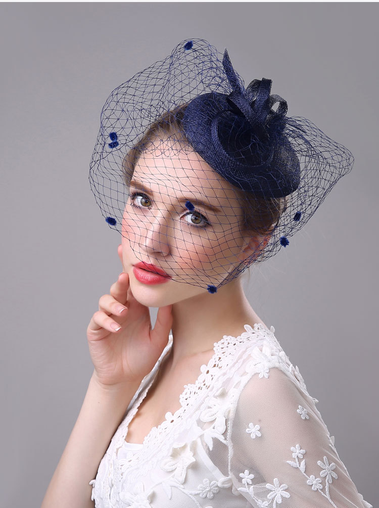 Face Veil Hats for Women Bridal Fascinators Wedding Hats Newly Linen Western Banquet Ladies Hats Party Hair Accessories BH010