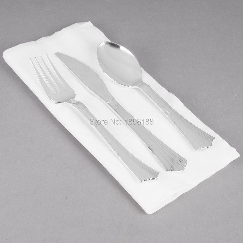 Home & Garden 36people Dinner Wedding Tableware Disposable Plastic Plates Silverware Rim Silver Cutlery Party Decorations