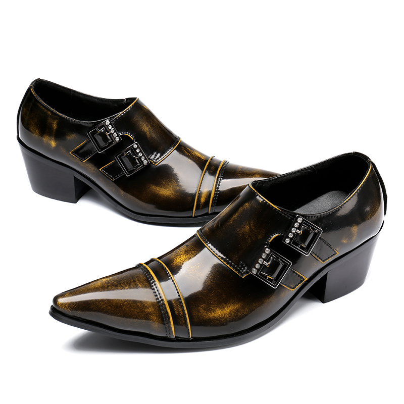 CH.KWOK Classic Buckles Mens Dress Oxfords Pointed Toe Italian Leather Shoes For Men Crystals Autumn Mens Business Oxfords 46 choudory new winter men ankle italian shoes men leather shoes pointed toe mens black dress shoes sequined toe spiked loafers men