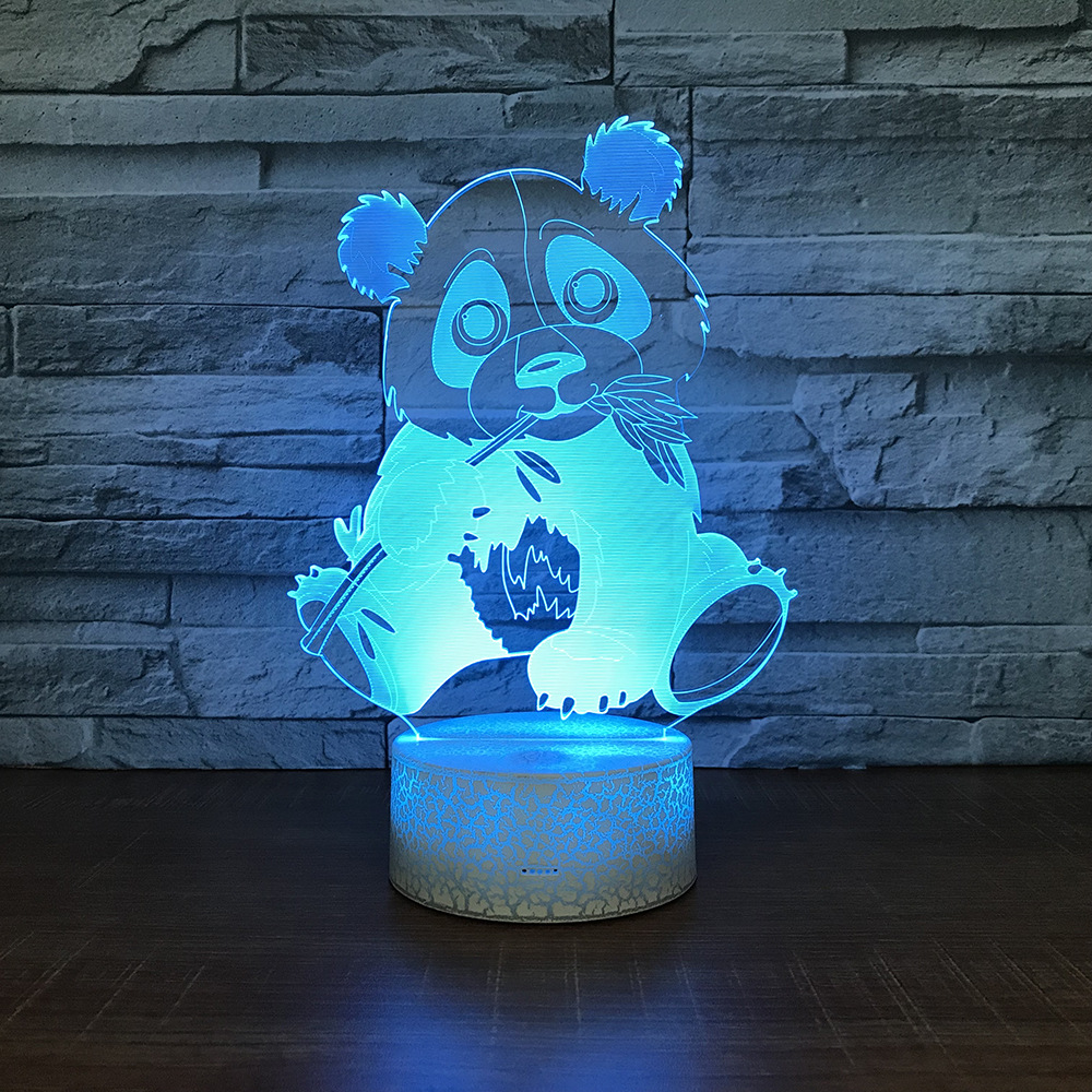 3D Cartoon Panda LED RGB Night Light <font><b>7</b></font> Color Change Desk Light Action Figures <font><b>280</b></font> Boys Girls Christmas Toys image