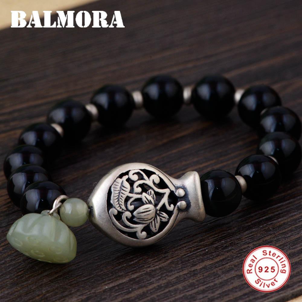 BALMORA 925 Sterling Silver Fish Flower Bracelets for Women Mother Gift Lotus Flower about 17cm Bracelet