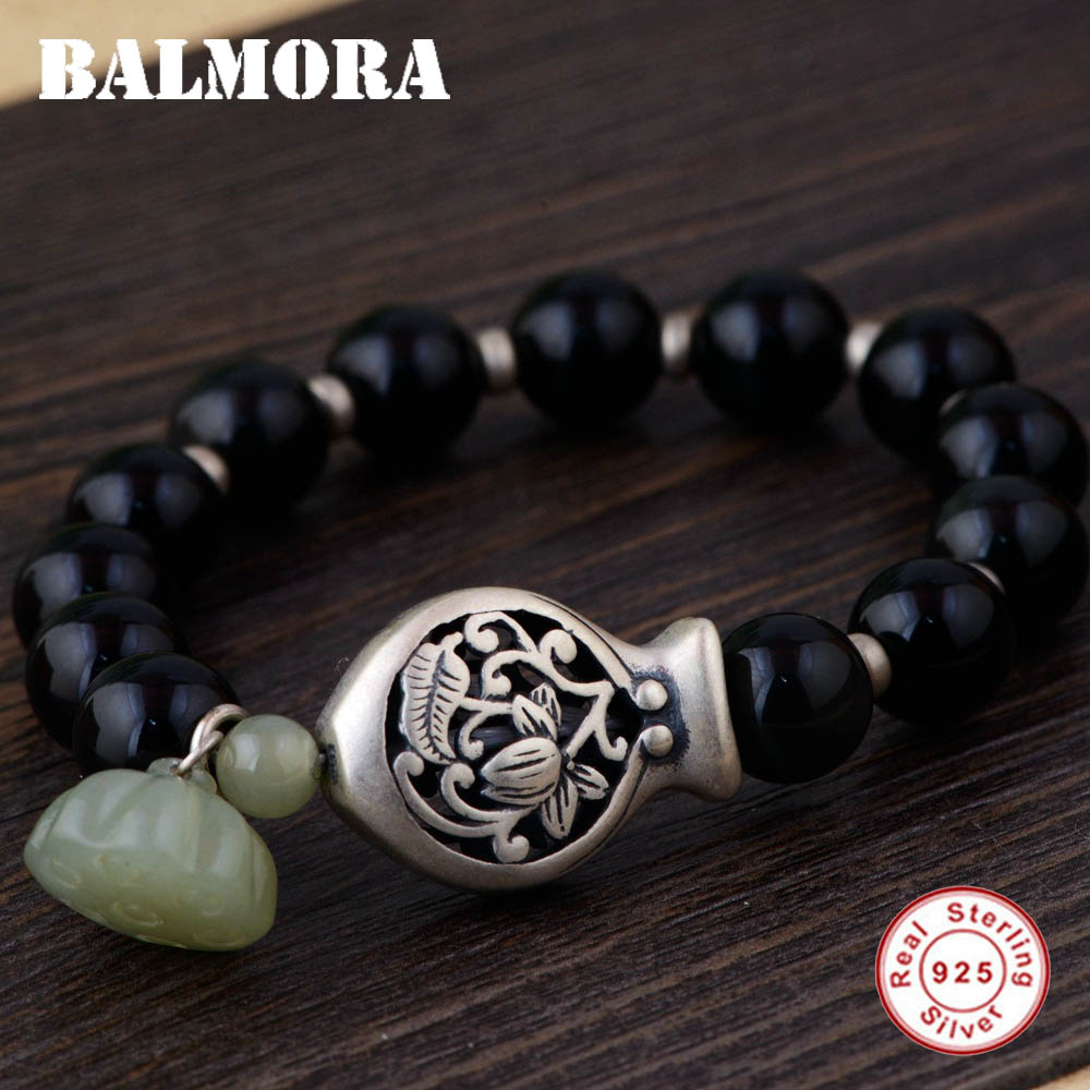 BALMORA 925 Sterling Silver Fish & Flower Bracelets for Women Mother Gift Lotus Flower about 17cm Bracelet Jewelry SY40169 about me fish
