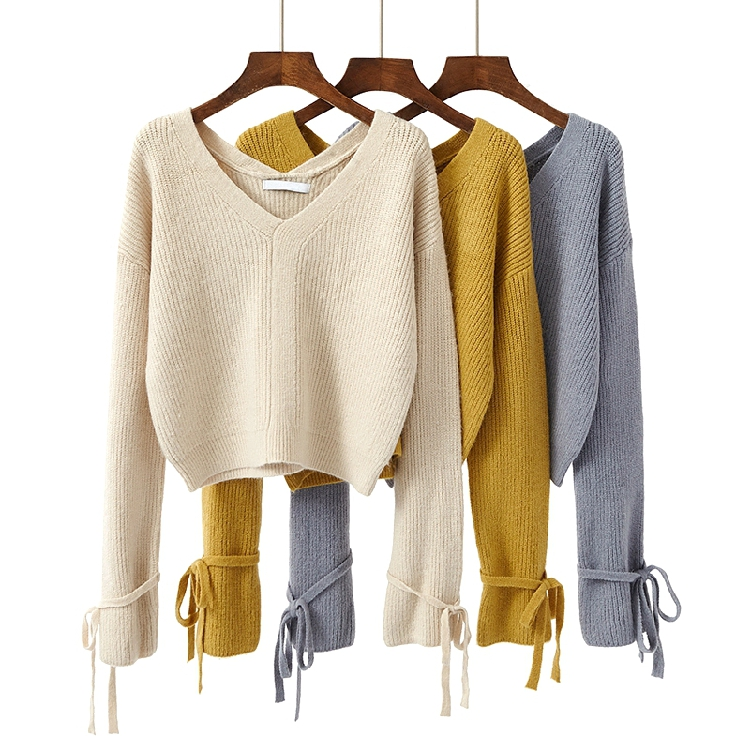 New Short design sweater womens warm tops 2018 long sleeve lace up cuff loose top V-neck long sleeve pullovers female sweaters