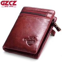 GZCZ Women Wallets Female And Coin Purse Genuine Leather Vallets Zipper Pouch Fashion Slim Walet Pocket