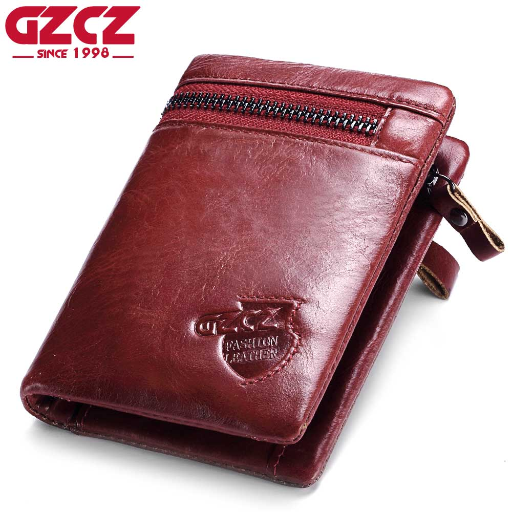 GZCZ Women Wallets Female and Coin Purse Genuine Leather Vallets Zipper Pouch Fashion Slim Walet Pocket Portomonee Rfid Vallet
