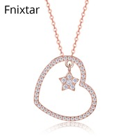 Fnixtar 100 Genuine 925 Sterling Silver Rose Gold Color Clear CZ Heart Romantic Pendant Necklaces For
