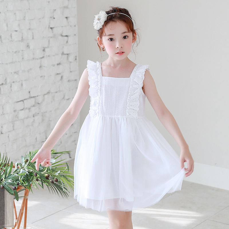 2018 New Baby Summer Dress Girls White Dress Fresh Kids Dress Toddler Mesh Sundress Children Sleeveless Dress Square Collar,2531