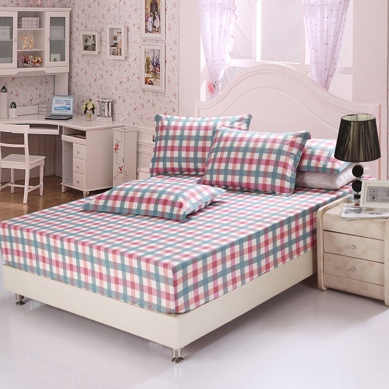 100%Cotton Red lattices and stripes bedding for adult children Bed Covers Mattress Cover fitted Sheet pillowcase full queen size
