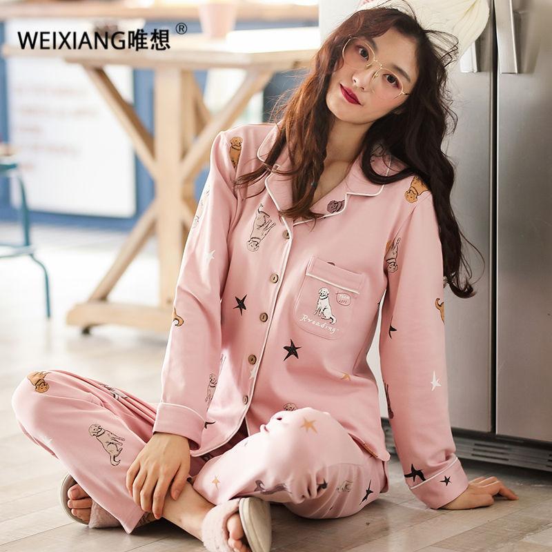 f74b601fbc WEIXIANG Women Winter Pajama Set Soft Printing Pijama Home Pyjamas ...