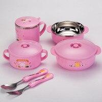 6 قطع من مجموعة أواني الطعام الطفل العزل وعاء غطاء المقاوم للصدأ أدوات المائدة ملعقة شوكة كوب عاء طبق المائدة مجموعة عيد هدية