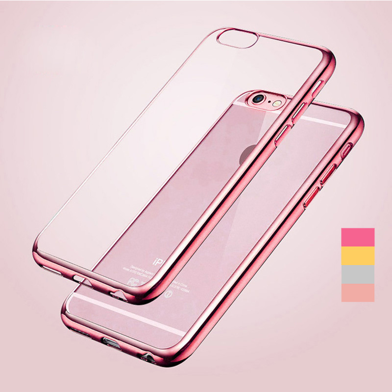 Gradient Case Luxury Ultra Thin Clear Crystal Rubber Platin Electroplating TPU Soft Mobile Phone Case For iPhone 5 5s 6 6s 6plus