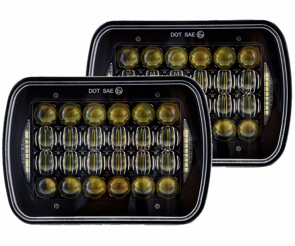 Pair Square 5X7 7X6 72W LED Headlight 10-30V for Jeep Wrangler YJ Cherokee XJ H6014 H6052 H6054 H6052 Trucks
