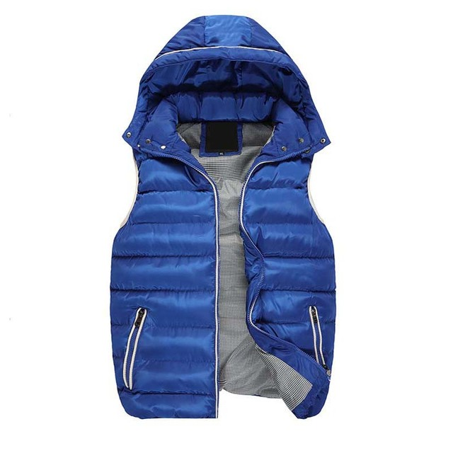 Men's Vest Winter Men Brand Hooded Vest Male Fashion Cotton-Padded Waistcoat Jacket and Coat Warm Vest 3XL 2XL