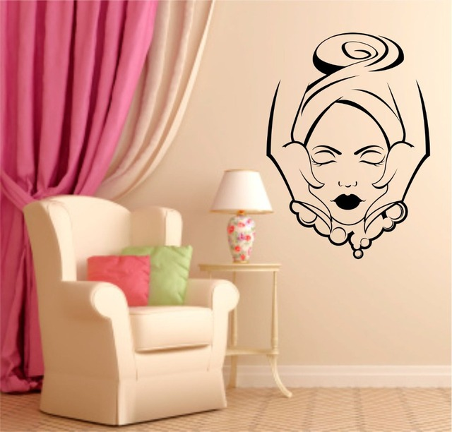 Girls Beauty Salon Wall Decal Face Massage Interior Fashion Design
