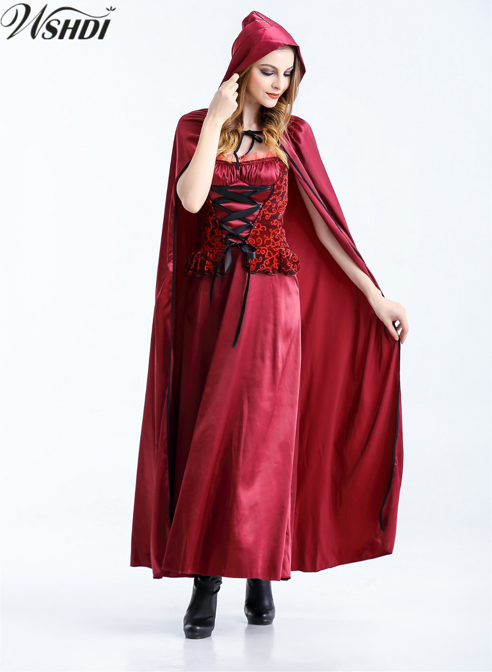 Sexy Women Little Red Riding Hood Costume Adult Ladies Halloween Cosplay Witch Vampire -9316