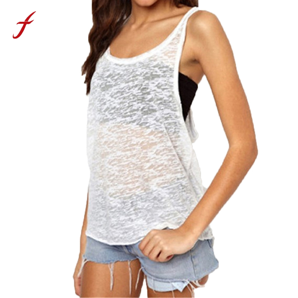 New Fashion Hot sale Girl Summer Sexy Women Tank Tops Quick Dry transparent  Loose Fitness Sleeveless