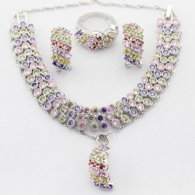 Color de plata Juegos de Joyería Multicolor AAA Circón Cúbico Para Las Mujeres Gota Colgante, Collar Pendiente Pulsera Anillo de Regalo de la Feliz Navidad